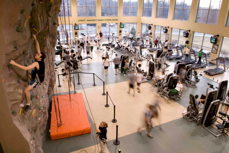 fitness center rock wall