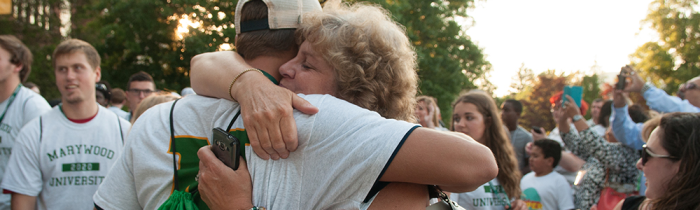 mother and son hug at marywood